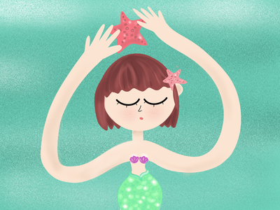Collecting Starfish girl design star character sketch artist art drawing sea mermaid starfish illustrator procreate illustration