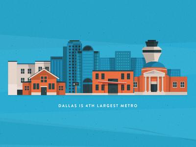 Yay Dallas flat vector brandon grotesque illustration