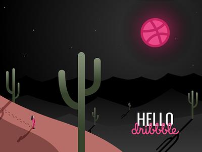 Hello Dribbble! debut digital-illustration art design illustration