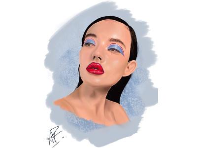 Headshot illustration art realism digital illustration drawing