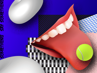 Play Tennis graphic rgb illustration 3d shape pattern tennis mouth future