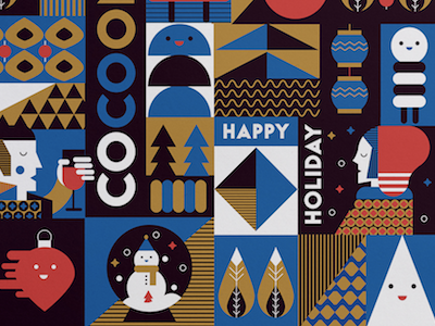 Happy Holiday color newyear illustration tile