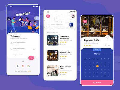 Coffee Cafe coffee bar design app design coffee cafe app coffee app colorful ux ui