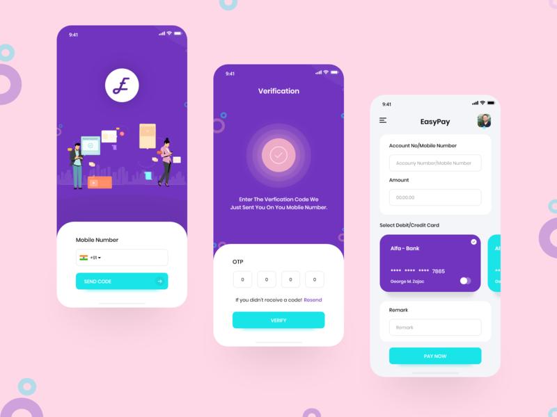 Easy Pay app design pay payment app payment dailyui logo ui colorful app design vector uiux