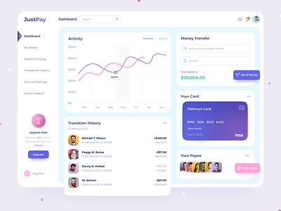 Justpay mindinventory dashboard ui dribbble vector app design inspiration dailyui webdesign dashboad dashboard design branding uiux