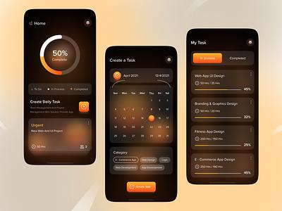 Task Manager App userfriendly calendar task app task management dark theme minimal ux mobile icon dailyui app design colorful uiux