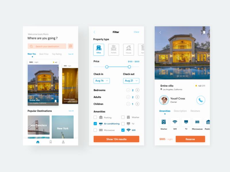 Villa Booking App ux uidesigner ui design uidesign ui designwich designchallenge app mobile ui mobile app