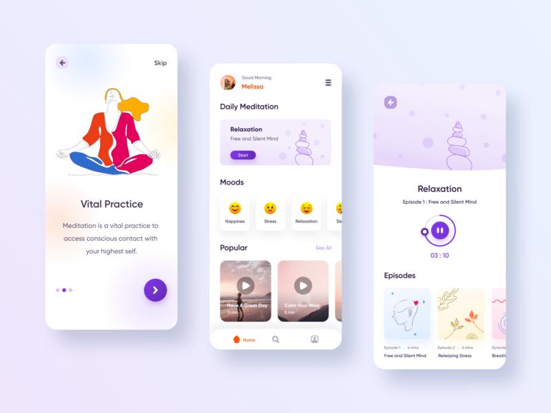Meditation App ui design illustration meditation app uidesigner uidesign ui designwich designchallenge mobile ui mobile app