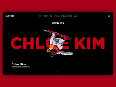 Burton Snowboard Athletes Page. Web Design Concept.