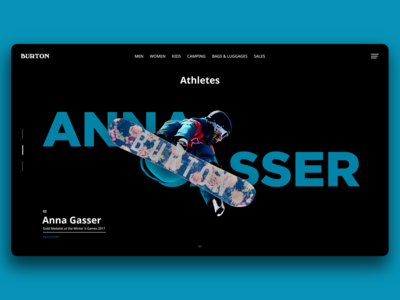 Burton Snowboard Second Athletes Page. Web Design Concept.