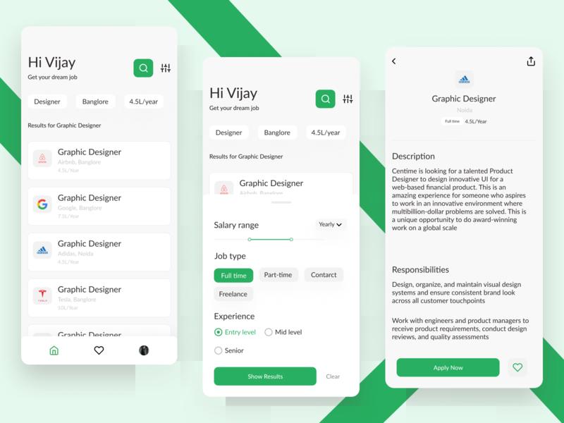 Job Portal - App concept branding uxdesign green inspiration job application dribble shot ui design trend ui ux typography design