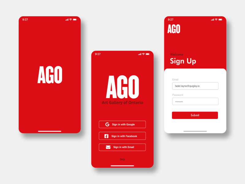 Art Gallery Mobile Application sign up ui landing page sign in signup artist artwork art gallery of ontario museum art gallery art ago ux design app ui branding