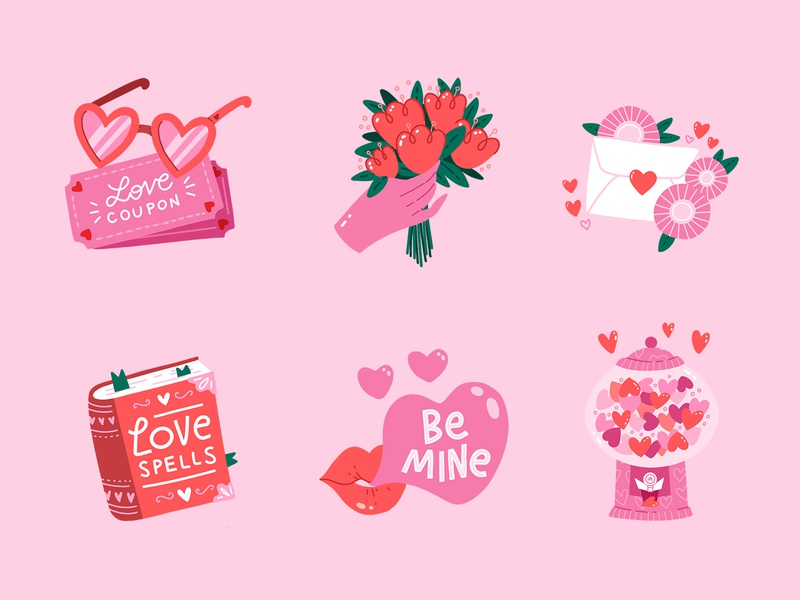 Stickers for Valentines Day candy hearts glasses cute spell book lips love mail flowers lettring illustration flat procreate stickers