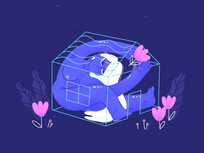 Confined Spaces stayhome procreate home house tulip cute beautiful character woman illustration girl confined