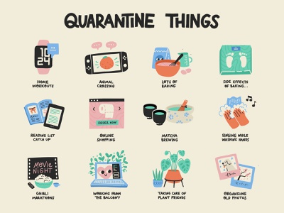 Quarantine Things vector illustration procreate plants matcha reading baking nintendo switch apple watch cute stickers hobbies home