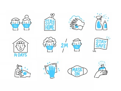 Social Distancing & Staying Safe Icon Set hand drawn procreate illustration face mask sanitizing cleaning sanitizer washing hand stay home virus vector icons quarantine social distancing coronavirus corona covid19