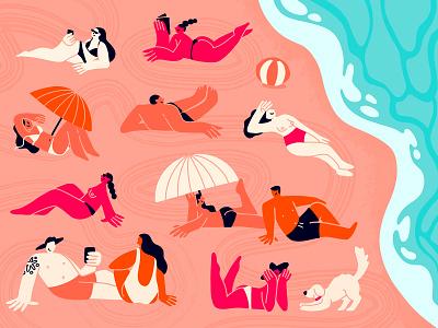 Summertime sand beachball umbrella dog sunbathing beach sea summer illustration fresco procreate vector