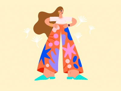Indian Summer ui vector procreate character girl woman summer shoes cute trousers fashion