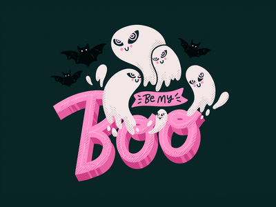 👻 Be My Boo 👻 card hand drawn hypnotize brushes texture procreate handlettering lettering bat ghost cute halloween illustration design flat character