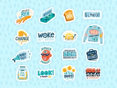 Passion Planner Sticker Pack 3/3 bank lettering hand lettering procreate illustration vector cute fund savings finance money budget stickers