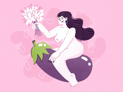 Valentine's Weekend valentines day funny character illustration vector procreate emoji eggplant love valentines beautiful flowers woman