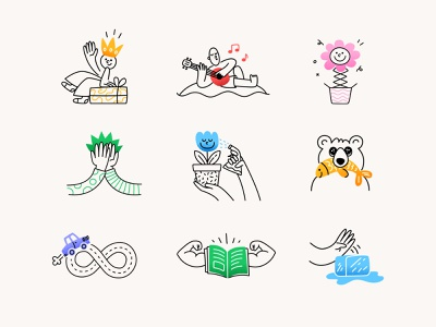 The joy of sending gifts icon set cute character ui icebreaker bear high five flowers gift fun family stickers icon set icons illustration vector