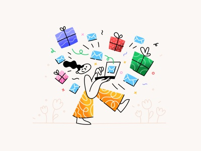 Sending a gift is just as easy as sending an email ui procreate art vector happy sending gifts email laptop girl cute illustration design character