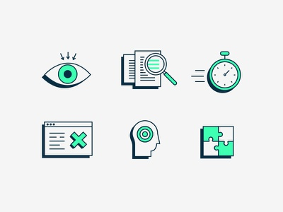 Accessibility Icons flat illustration icons puzzle human target browser website stopwatch magnifier documents eye