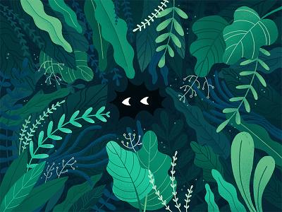 Hiding 👀 rain forest tropical illustration leaves jungle florida alligator green eyes plants