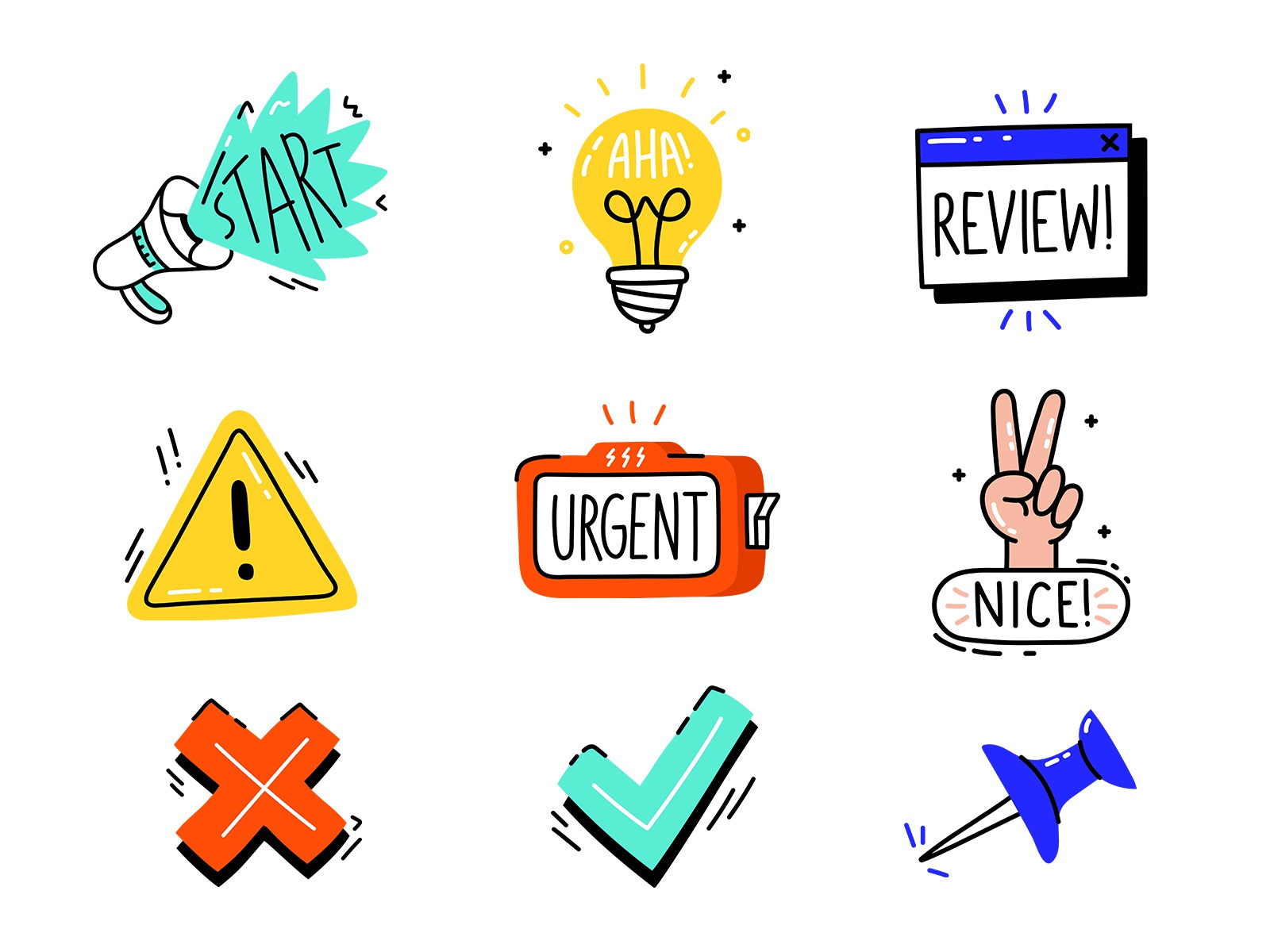 Autopilot Sticker Pack icons illustration ux ui lettering custom type flat vector dashboard stickers