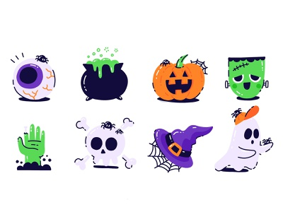 Autopilot Halloween Sticker Pack scary spooky ghost zombie frankenstein pumpkin halloween character icons cute illustration vector flat