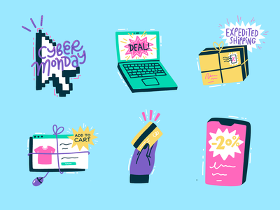 Cyber Monday Stickers for Snapchat card phone shopping laptop tech snapchat illustration stickers icons hand lettering flat custom type cyber monday