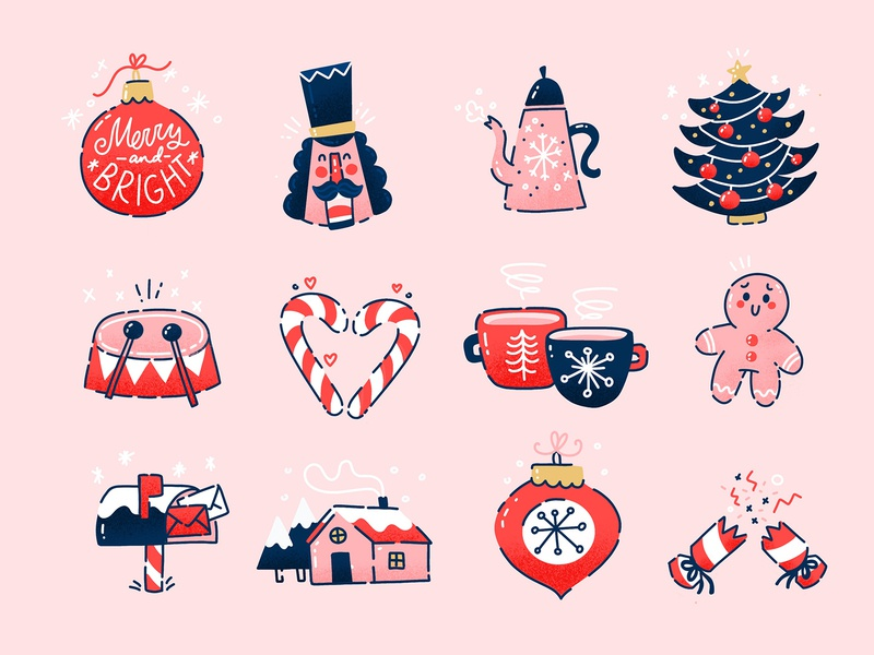 Christmas Sticker Pack for Snapchat vector bauble tree snow tea cracker santa snapchat stickers illustration flat christmas