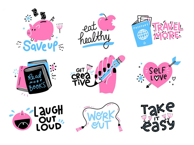 New Year Resolutions handlettering typography laughing heart books pencil passport apple pig cute sticker flat vector illustration