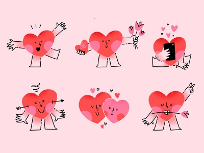 Be my valentine sticker pack flowers valentine love cute character heart stickers illustration flat