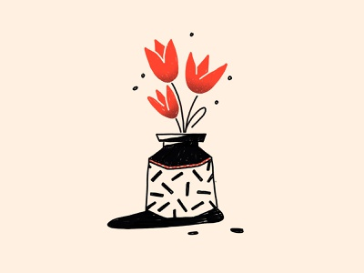 Still life flat illustration bouquet flowers pattern tulips vase