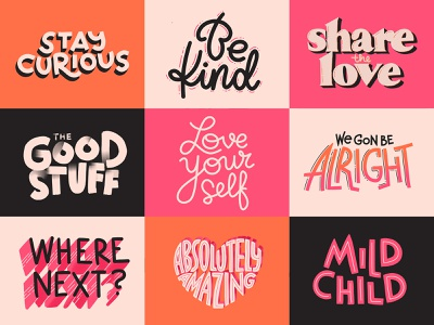 The Good Stuff typography illustration stickers lettering hand lettering custom type