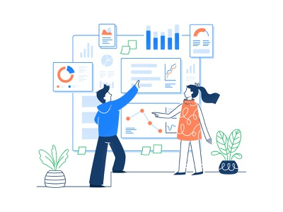 Managing Data wireframe ux ui team product illustration graph flat design human plants management data character