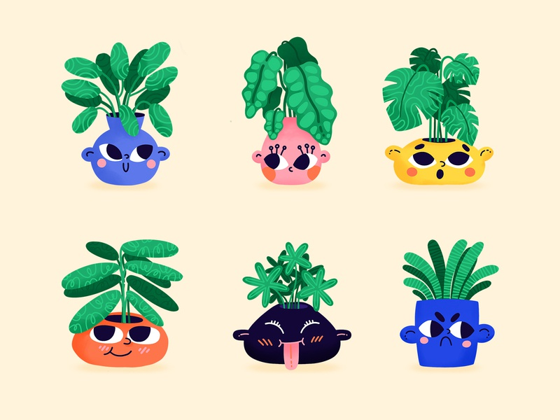 Plant Friends Sticker Pack procreate plants stickers snapchat icons cute character vector illustration