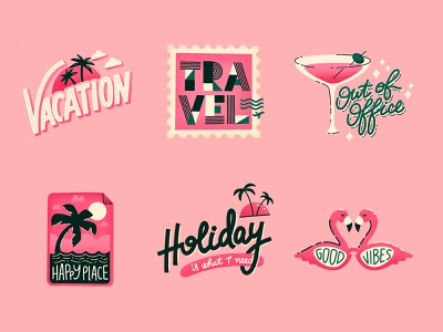 Vacation Mode Sticker Pack time off travel palms holiday vacation typography stickers hand lettering illustration lettering custom type