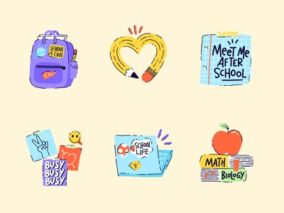 Back to School Sticker Pack study learning typography sticker illustration school hand lettering