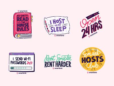 Smart Hosts Sticker Pack procreate handwritten pillow book rent airbnb host sticker illustration hand lettering