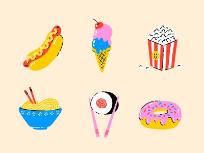 Food Sticker Pack procreate sticker food donut sushi noodles popcorn icecream hotdog cute