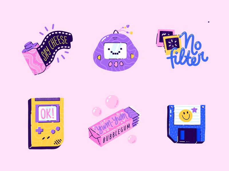 Love the 90s sticker pack sticker retro disk floppy bubblegum gameboy videogame instant snapchat tamagotchi camera film nineties 90s