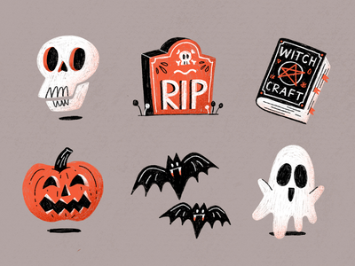 Halloween Spook Sticker Pack dribbbleweeklywarmup hand drawn procreate ghost bat pumpkin spellbook witch grave skull scary spooky halloween