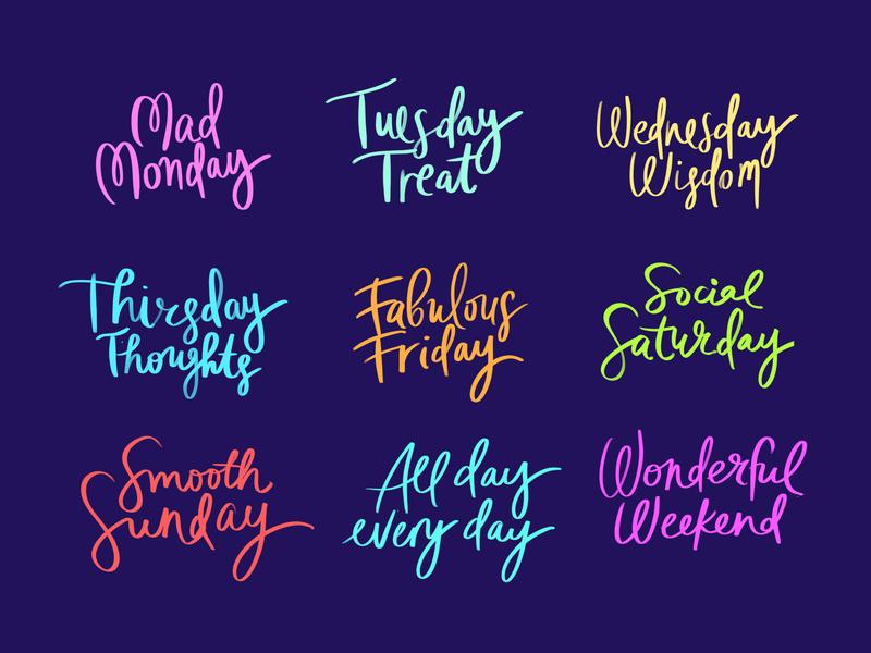 Morning Lettering Practice weekend handlettering brush days week stickers lettering