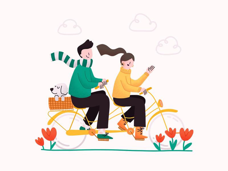 Bikesharing procreate happy family bike riding tulips flowers dog bike love couple