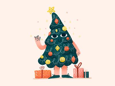Holiday Season product xmas illustration christmas tree cute character bauble presents