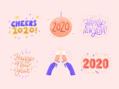 Happy New Year Sticker pack champagne celebration party handwritten lettering 2020
