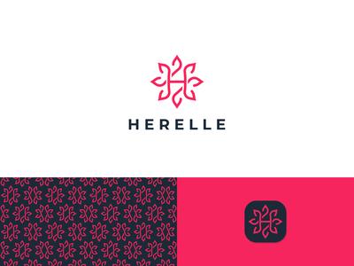 Herelle logo design concept brand pattern branding design minimalist modern logo flower logo iconic logo logo emblem logo brand identity